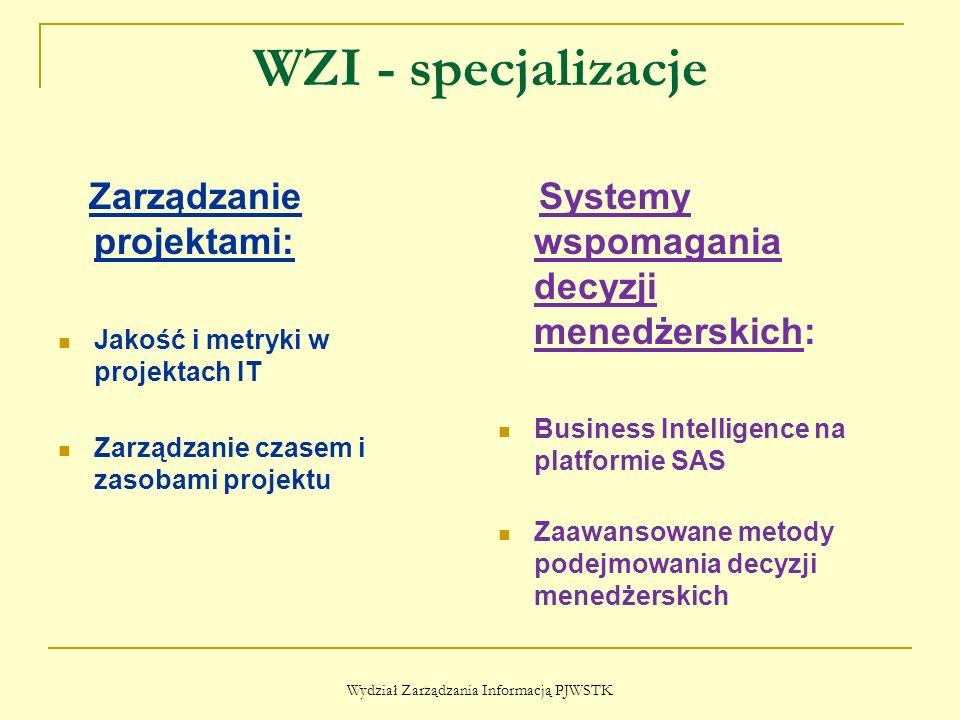 WZI - specjalizacje Zarządzanie projektami: Jakość i metryki w projektach IT Zarządzanie czasem i zasobami projektu Systemy wspomagania decyzji menedż