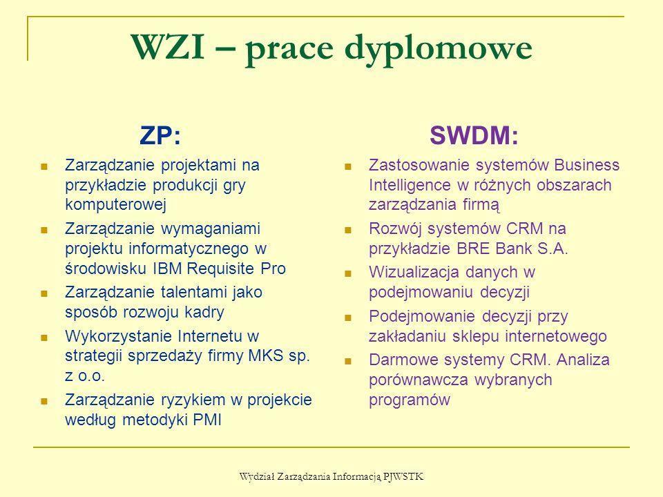 WZI – prace dyplomowe ZP: Zarządzanie projektami na przykładzie produkcji gry komputerowej Zarządzanie wymaganiami projektu informatycznego w środowisku IBM Requisite Pro Zarządzanie talentami jako sposób rozwoju kadry Wykorzystanie Internetu w strategii sprzedaży firmy MKS sp.
