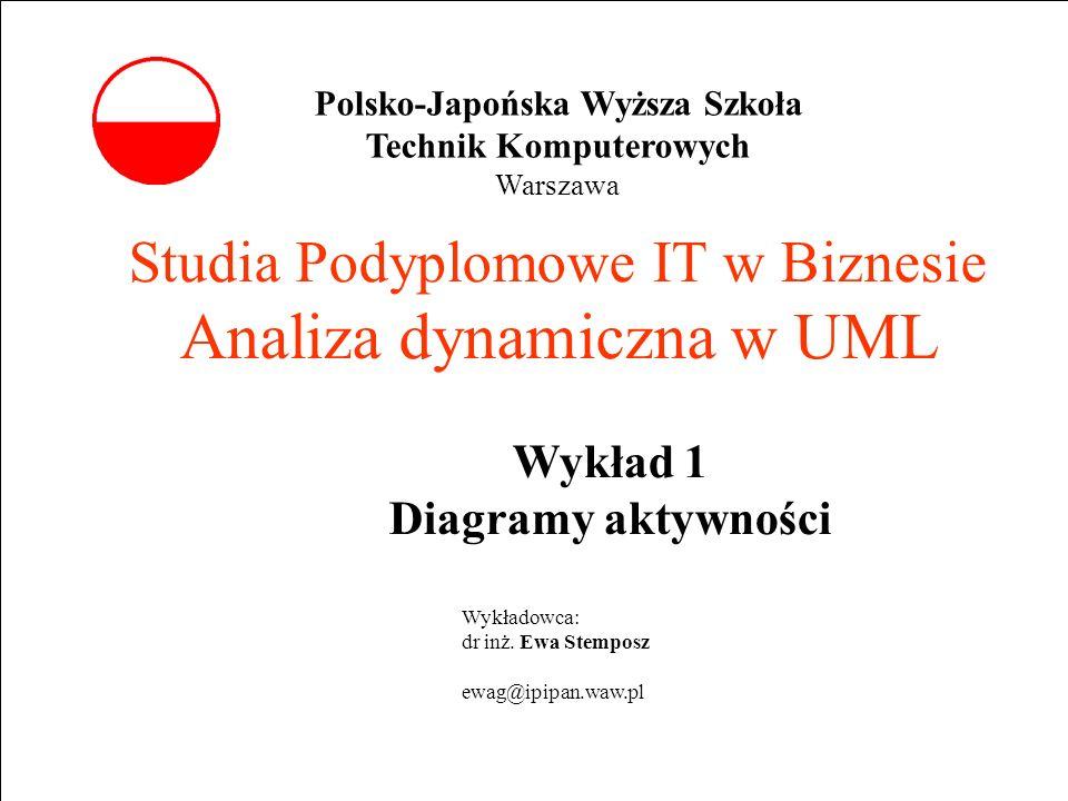 E. Stemposz. Analiza dynamiczna w UML, Wykład 3, Slajd 1 Studia Podyplomowe IT w Biznesie Analiza dynamiczna w UML Wykład 1 Diagramy aktywności Wykład