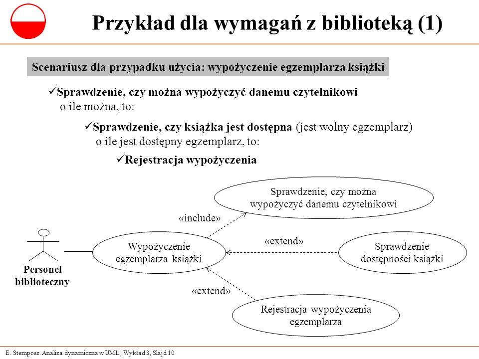 E. Stemposz. Analiza dynamiczna w UML, Wykład 3, Slajd 10 Przykład dla wymagań z biblioteką (1) Scenariusz dla przypadku użycia: wypożyczenie egzempla
