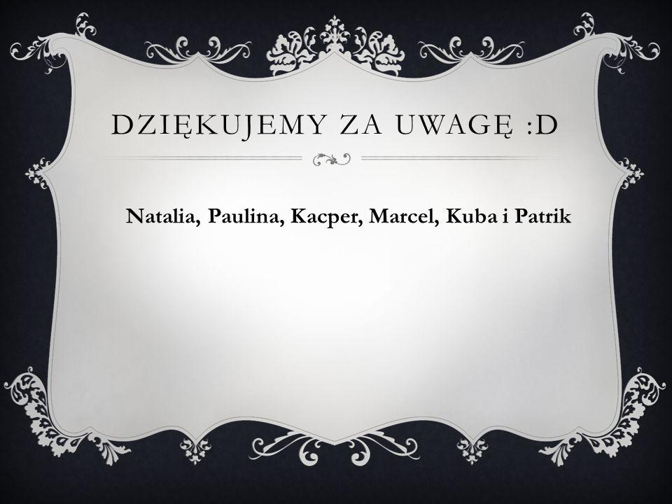 DZIĘKUJEMY ZA UWAGĘ :D Natalia, Paulina, Kacper, Marcel, Kuba i Patrik