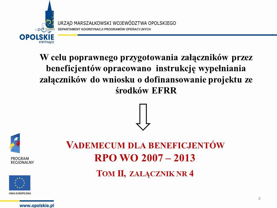W celu poprawnego przygotowania załączników przez beneficjentów opracowano instrukcję wypełniania załączników do wniosku o dofinansowanie projektu ze środków EFRR V ADEMECUM DLA BENEFICJENTÓW RPO WO 2007 – 2013 T OM II, ZAŁĄCZNIK NR 4 4