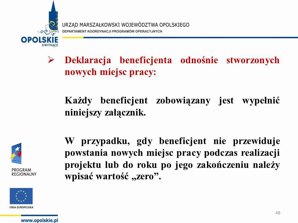  Deklaracja beneficjenta odnośnie stworzonych nowych miejsc pracy: Każdy beneficjent zobowiązany jest wypełnić niniejszy załącznik.
