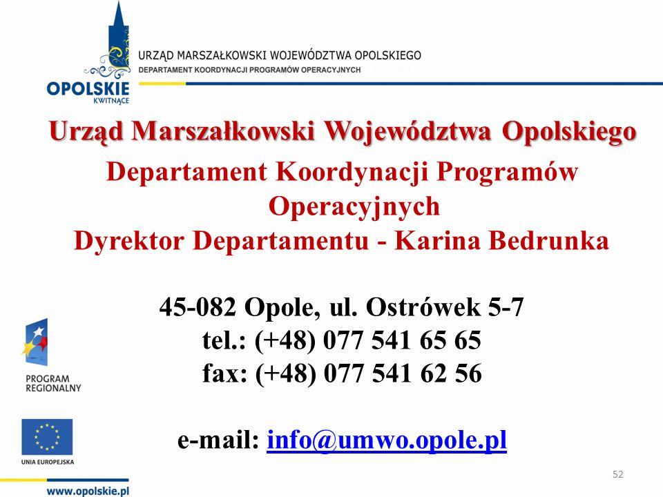 Urząd Marszałkowski Województwa Opolskiego Departament Koordynacji Programów Operacyjnych Dyrektor Departamentu - Karina Bedrunka 45-082 Opole, ul.