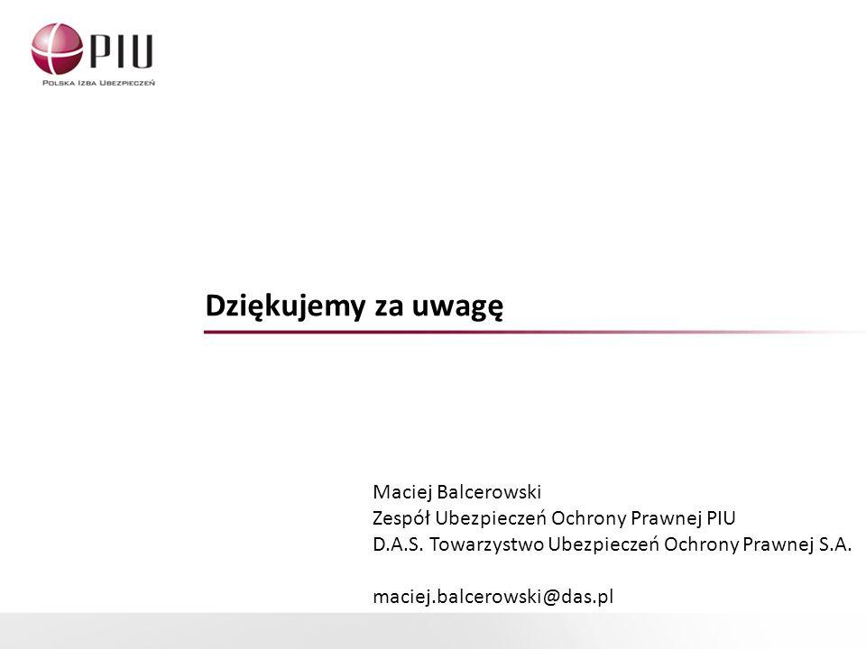 Dziękujemy za uwagę Maciej Balcerowski Zespół Ubezpieczeń Ochrony Prawnej PIU D.A.S.