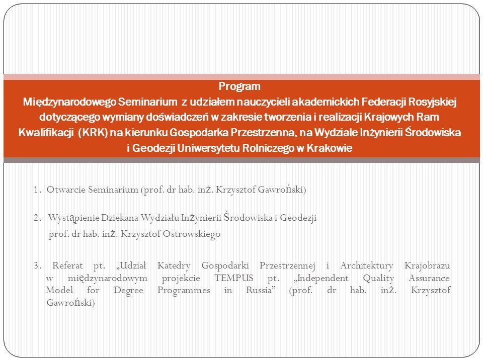 Program Międzynarodowego Seminarium z udziałem nauczycieli akademickich Federacji Rosyjskiej dotyczącego wymiany doświadczeń w zakresie tworzenia i realizacji Krajowych Ram Kwalifikacji (KRK) na kierunku Gospodarka Przestrzenna, na Wydziale Inżynierii Środowiska i Geodezji Uniwersytetu Rolniczego w Krakowie 1.