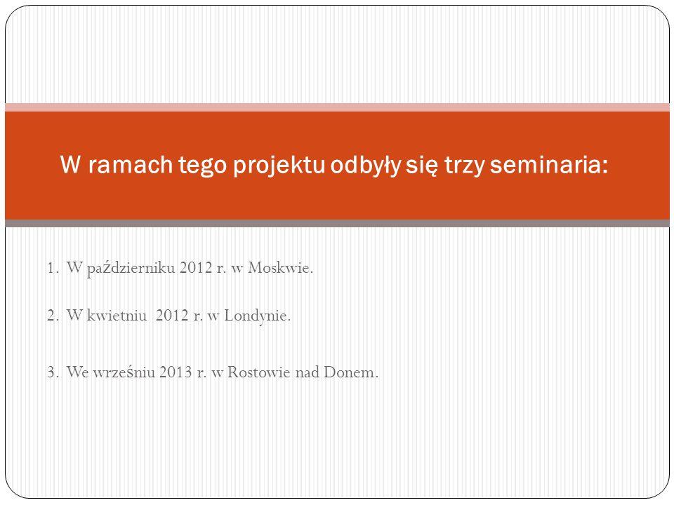 W ramach tego projektu odbyły się trzy seminaria: 1.