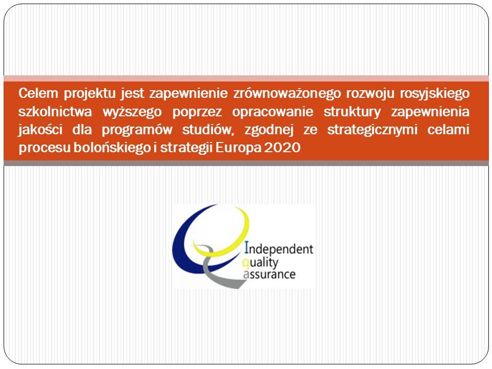 Celem projektu jest zapewnienie zrównoważonego rozwoju rosyjskiego szkolnictwa wyższego poprzez opracowanie struktury zapewnienia jakości dla programów studiów, zgodnej ze strategicznymi celami procesu bolońskiego i strategii Europa 2020