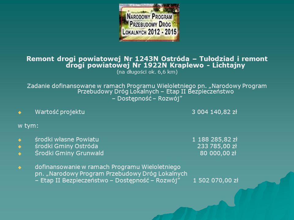 Remont drogi powiatowej Nr 1243N Ostróda – Tułodziad i remont drogi powiatowej Nr 1922N Kraplewo - Lichtajny (na długości ok.