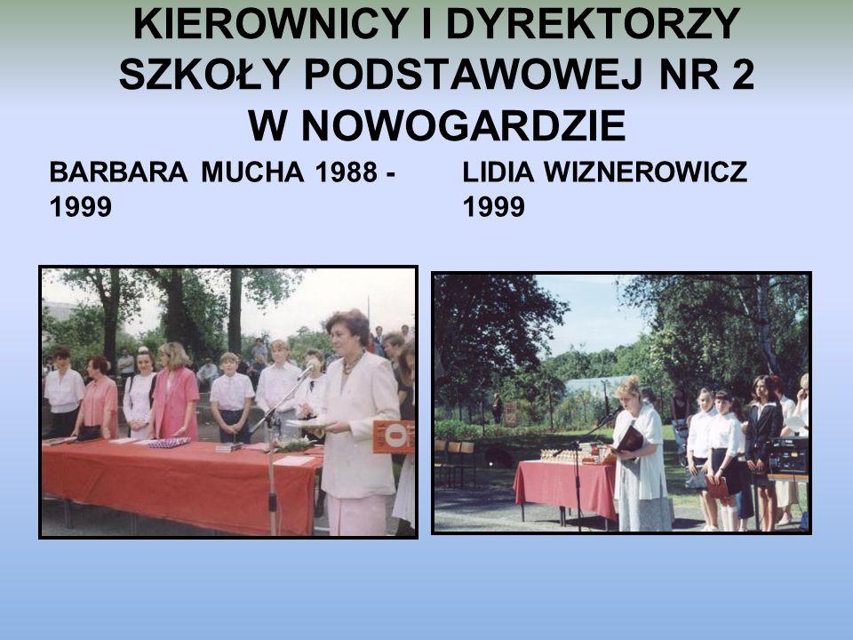 KIEROWNICY I DYREKTORZY SZKOŁY PODSTAWOWEJ NR 2 W NOWOGARDZIE BARBARA MUCHA 1988 - 1999 LIDIA WIZNEROWICZ 1999