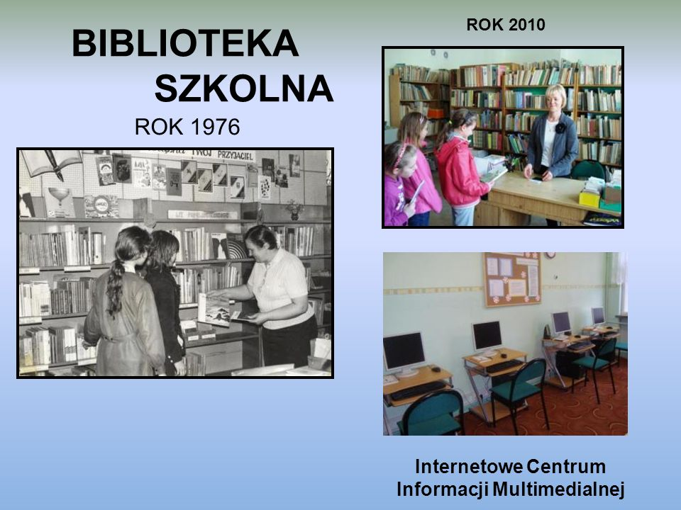 BIBLIOTEKA SZKOLNA ROK 1976 ROK 2010 Internetowe Centrum Informacji Multimedialnej