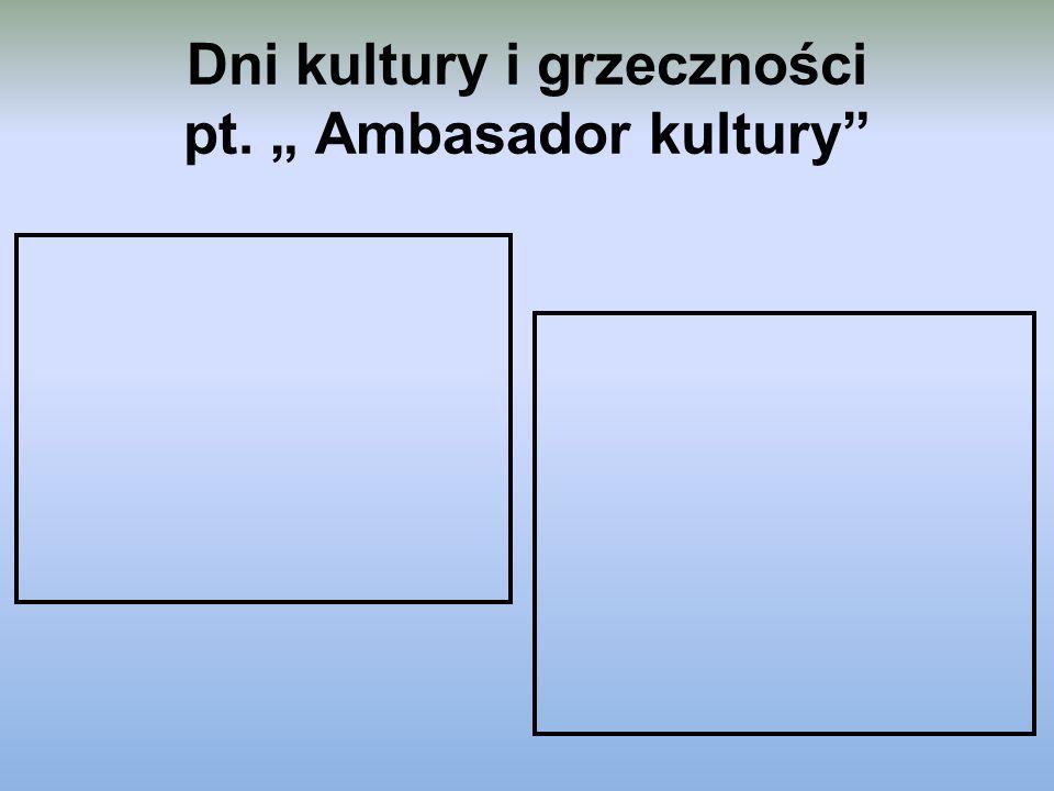"Dni kultury i grzeczności pt. "" Ambasador kultury"""