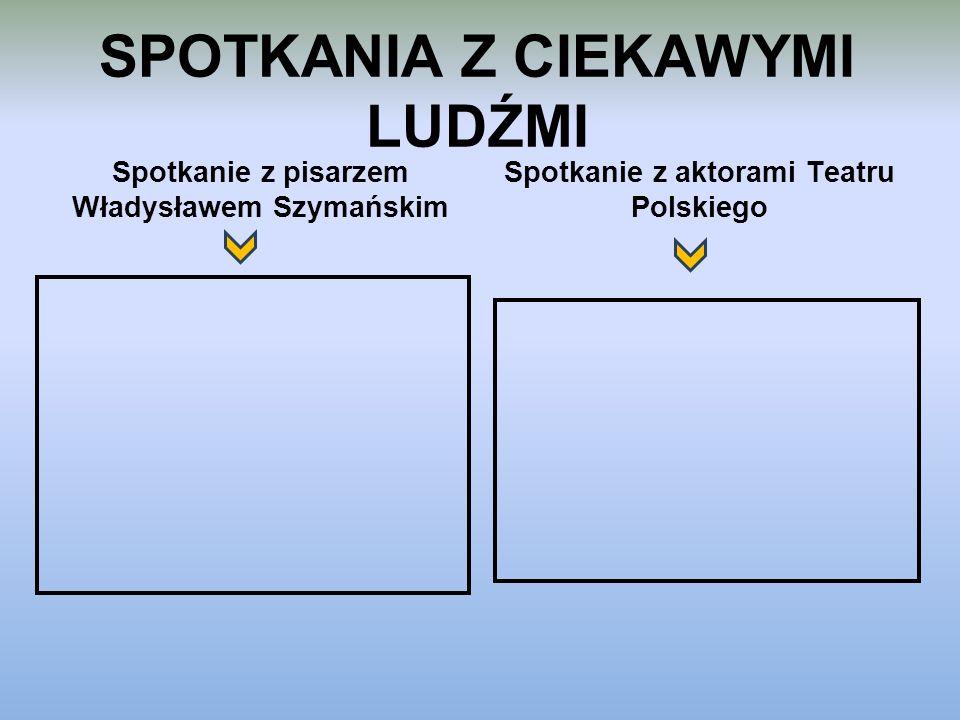 SPOTKANIA Z CIEKAWYMI LUDŹMI Spotkanie z pisarzem Władysławem Szymańskim Spotkanie z aktorami Teatru Polskiego