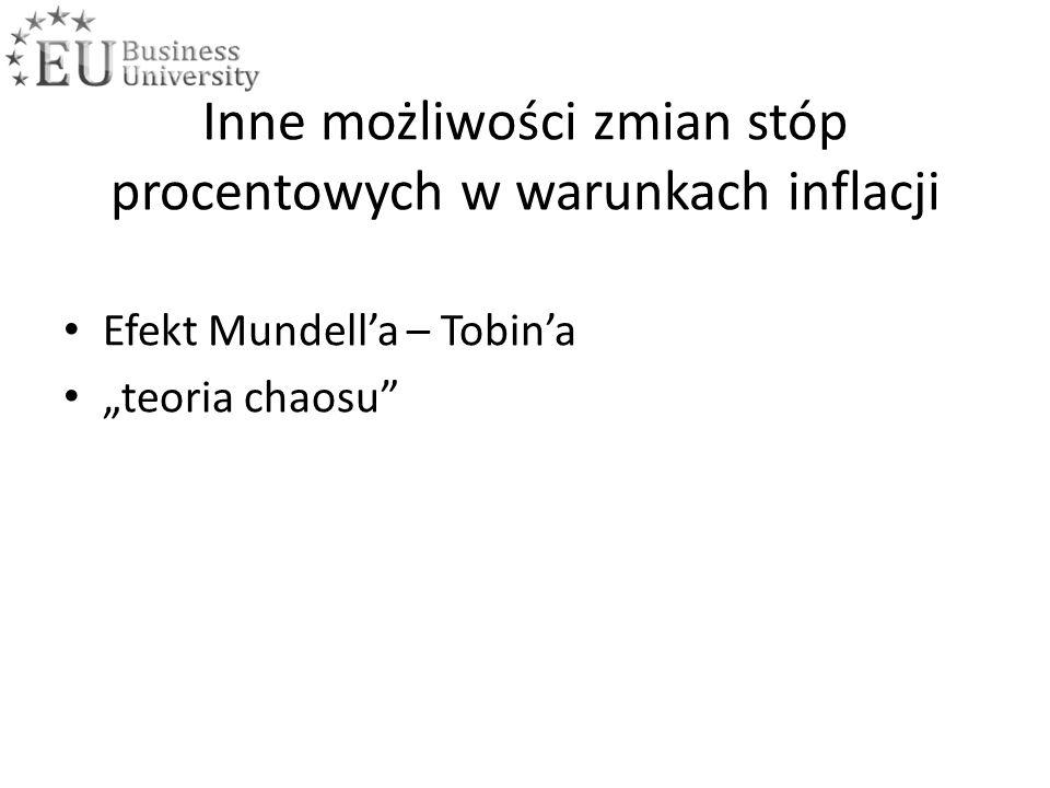 """Inne możliwości zmian stóp procentowych w warunkach inflacji Efekt Mundell'a – Tobin'a """"teoria chaosu"""