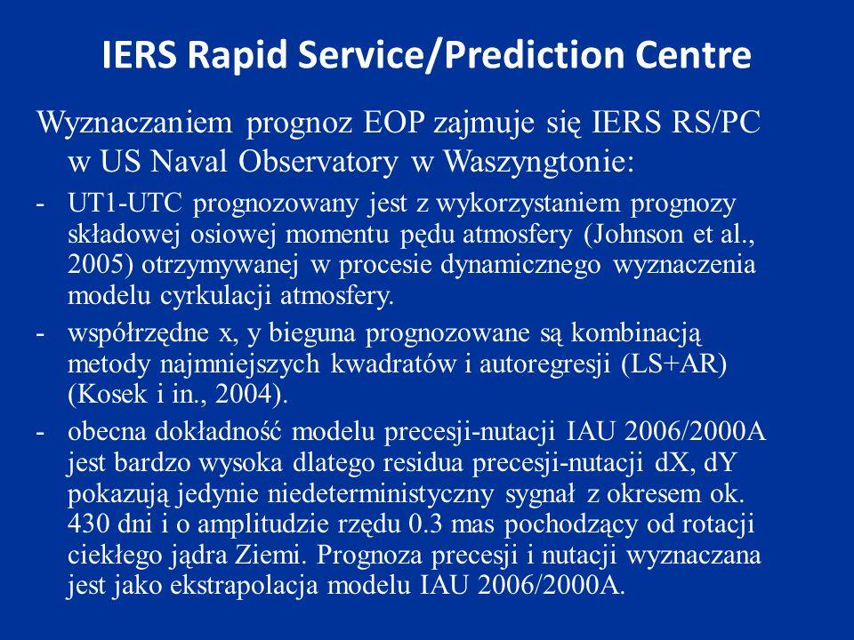 IERS Rapid Service/Prediction Centre Wyznaczaniem prognoz EOP zajmuje się IERS RS/PC w US Naval Observatory w Waszyngtonie: -UT1-UTC prognozowany jest z wykorzystaniem prognozy składowej osiowej momentu pędu atmosfery (Johnson et al., 2005) otrzymywanej w procesie dynamicznego wyznaczenia modelu cyrkulacji atmosfery.