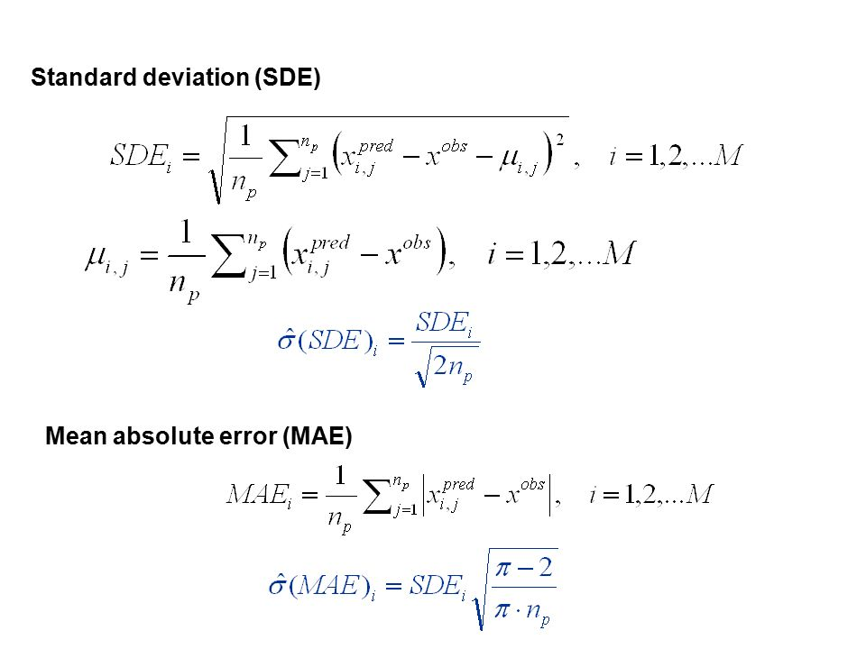 Standard deviation (SDE) Mean absolute error (MAE)