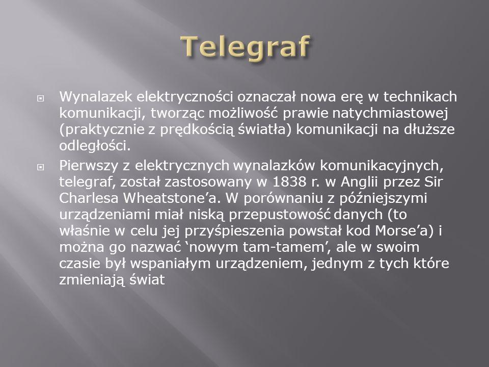  Wynalazek elektryczności oznaczał nowa erę w technikach komunikacji, tworząc możliwość prawie natychmiastowej (praktycznie z prędkością światła) komunikacji na dłuższe odległości.