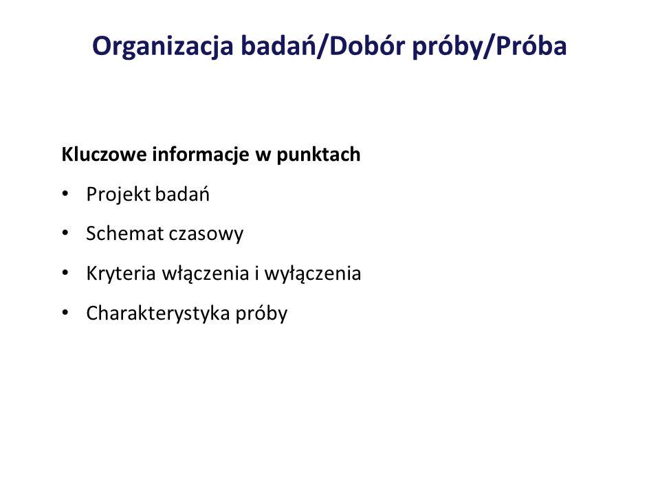 Organizacja badań/Dobór próby/Próba Kluczowe informacje w punktach Projekt badań Schemat czasowy Kryteria włączenia i wyłączenia Charakterystyka próby