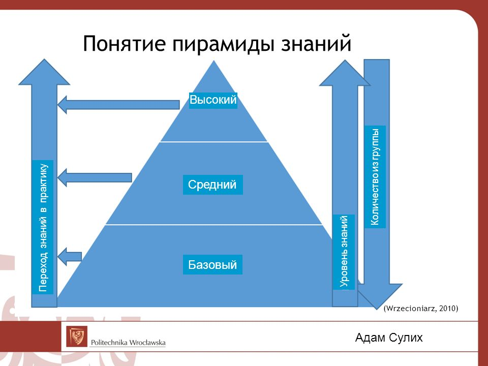 Понятие пирамиды знаний (GUS, 2014). (Wrzecioniarz, 2010) Адам Сулих Количество из группы Уровень знаний Переход знаний в практику Базовый Средний Выс