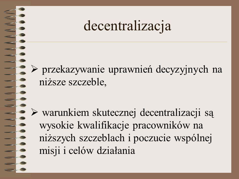 decentralizacja  przekazywanie uprawnień decyzyjnych na niższe szczeble,  warunkiem skutecznej decentralizacji są wysokie kwalifikacje pracowników na niższych szczeblach i poczucie wspólnej misji i celów działania