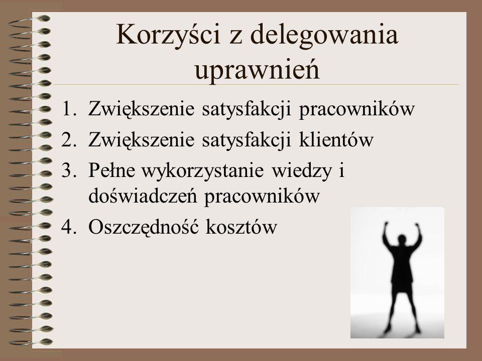 Korzyści z delegowania uprawnień 1.Zwiększenie satysfakcji pracowników 2.Zwiększenie satysfakcji klientów 3.Pełne wykorzystanie wiedzy i doświadczeń p