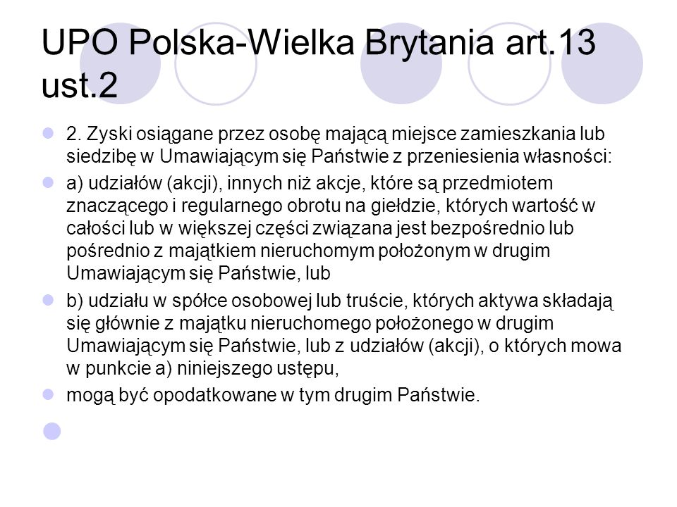 UPO Polska-Wielka Brytania art.13 ust.2 2.