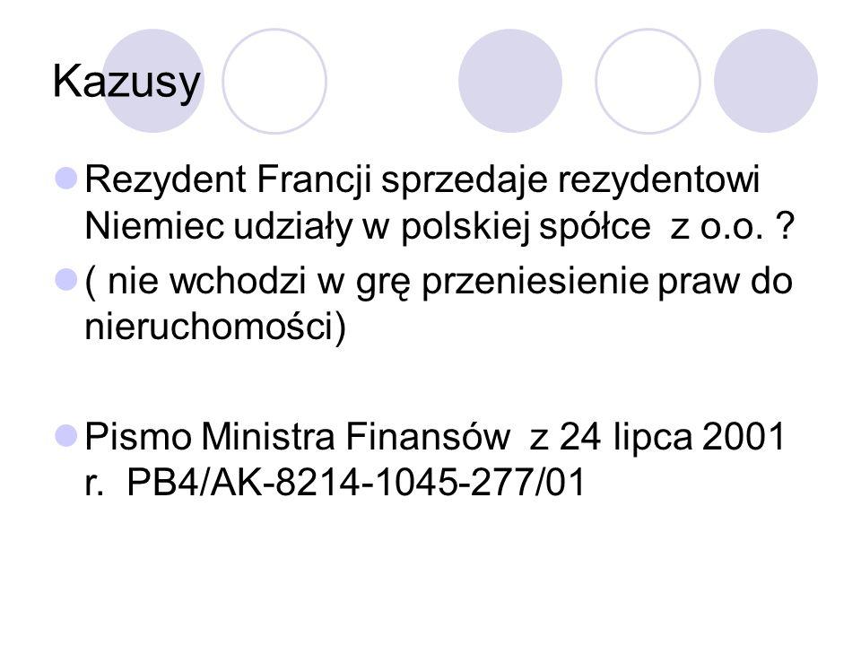 Kazusy Rezydent Francji sprzedaje rezydentowi Niemiec udziały w polskiej spółce z o.o.