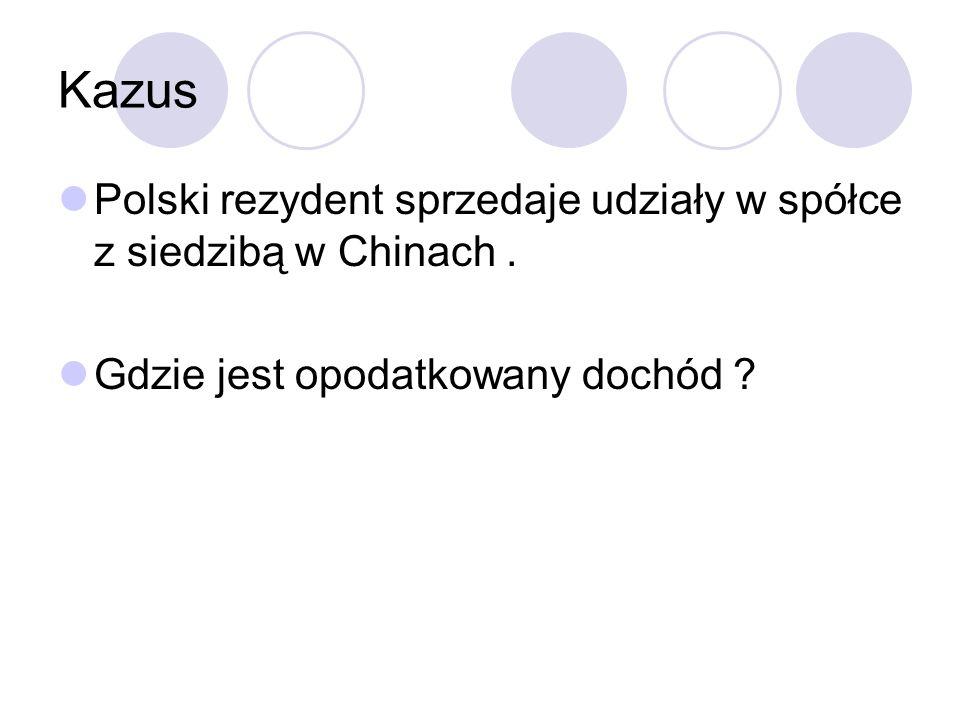 Kazus Polski rezydent sprzedaje udziały w spółce z siedzibą w Chinach.