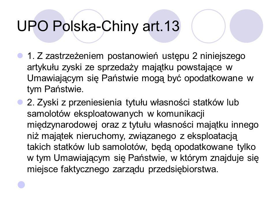 UPO Polska-Chiny art.13 1.
