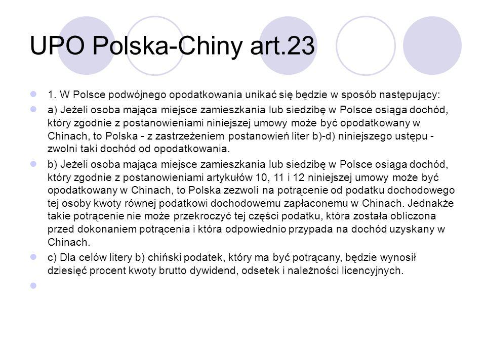 UPO Polska-Chiny art.23 1.