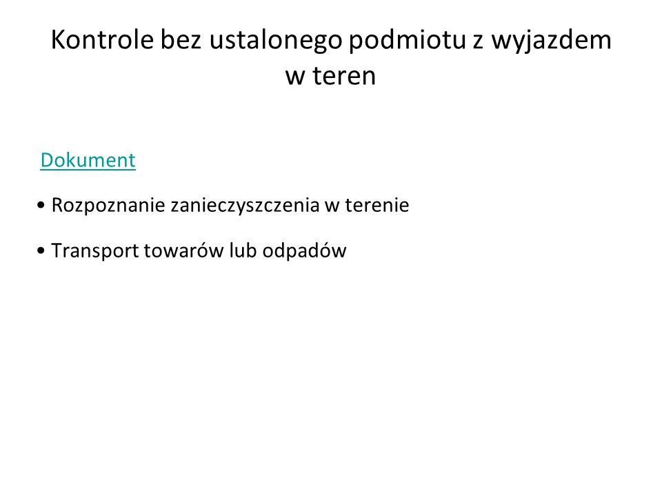 Kontrole bez ustalonego podmiotu z wyjazdem w teren Dokument Rozpoznanie zanieczyszczenia w terenie Transport towarów lub odpadów