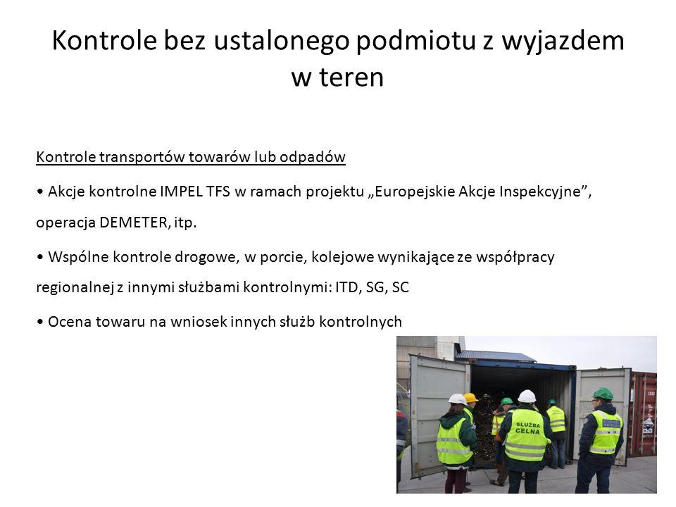 """Kontrole bez ustalonego podmiotu z wyjazdem w teren Kontrole transportów towarów lub odpadów Akcje kontrolne IMPEL TFS w ramach projektu """"Europejskie Akcje Inspekcyjne , operacja DEMETER, itp."""
