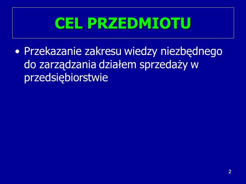 2 CEL PRZEDMIOTU Przekazanie zakresu wiedzy niezbędnego do zarządzania działem sprzedaży w przedsiębiorstwie