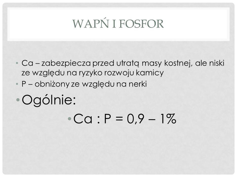 WAPŃ I FOSFOR Ca – zabezpiecza przed utratą masy kostnej, ale niski ze względu na ryzyko rozwoju kamicy P – obniżony ze względu na nerki Ogólnie: Ca : P = 0,9 – 1%