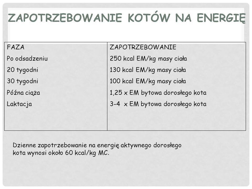 ZAPOTRZEBOWANIE KOTÓW NA ENERGIĘ FAZA Po odsadzeniu 20 tygodni 30 tygodni Późna ciąża Laktacja ZAPOTRZEBOWANIE 250 kcal EM/kg masy ciała 130 kcal EM/kg masy ciała 100 kcal EM/kg masy ciała 1,25 x EM bytowa dorosłego kota 3-4 x EM bytowa dorosłego kota Dzienne zapotrzebowanie na energię aktywnego dorosłego kota wynosi około 60 kcal/kg MC.