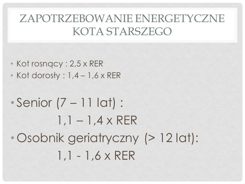 ZAPOTRZEBOWANIE ENERGETYCZNE KOTA STARSZEGO Kot rosnący : 2,5 x RER Kot dorosły : 1,4 – 1,6 x RER Senior (7 – 11 lat) : 1,1 – 1,4 x RER Osobnik geriatryczny (> 12 lat): 1,1 - 1,6 x RER