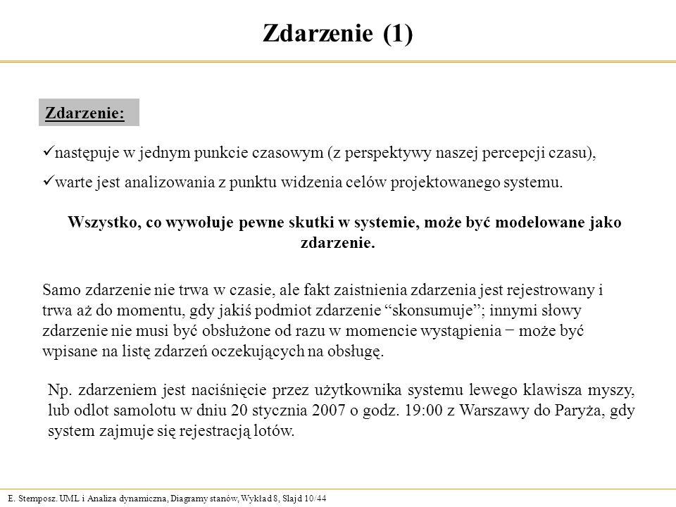 E. Stemposz. UML i Analiza dynamiczna, Diagramy stanów, Wykład 8, Slajd 10/44 Zdarzenie (1) Np.