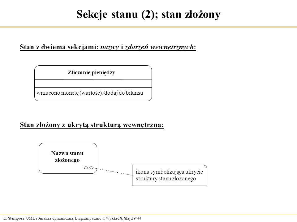 E.Stemposz. UML i Analiza dynamiczna, Diagramy stanów, Wykład 8, Slajd 10/44 Zdarzenie (1) Np.