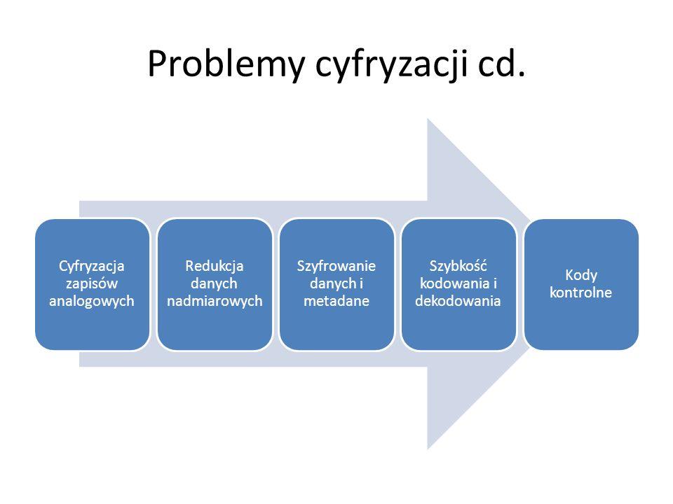 Problemy cyfryzacji cd. Cyfryzacja zapisów analogowych Redukcja danych nadmiarowych Szyfrowanie danych i metadane Szybkość kodowania i dekodowania Kod