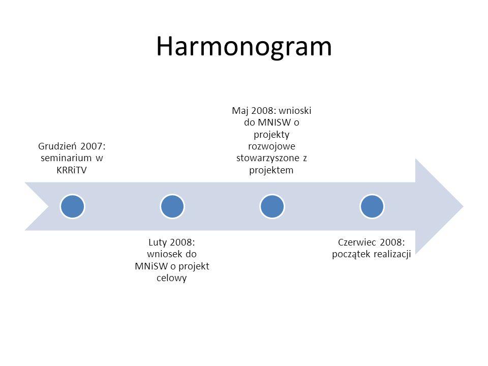 Harmonogram Grudzień 2007: seminarium w KRRiTV Luty 2008: wniosek do MNiSW o projekt celowy Maj 2008: wnioski do MNISW o projekty rozwojowe stowarzyszone z projektem Czerwiec 2008: początek realizacji