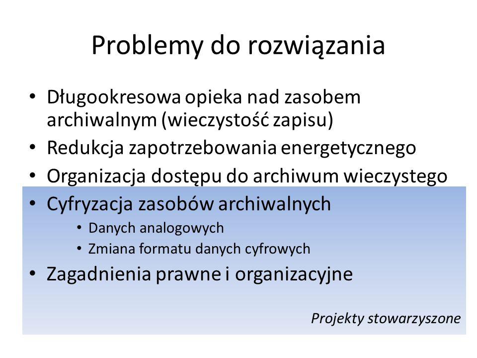 Projekty stowarzyszone Problemy do rozwiązania Długookresowa opieka nad zasobem archiwalnym (wieczystość zapisu) Redukcja zapotrzebowania energetycznego Organizacja dostępu do archiwum wieczystego Cyfryzacja zasobów archiwalnych Danych analogowych Zmiana formatu danych cyfrowych Zagadnienia prawne i organizacyjne