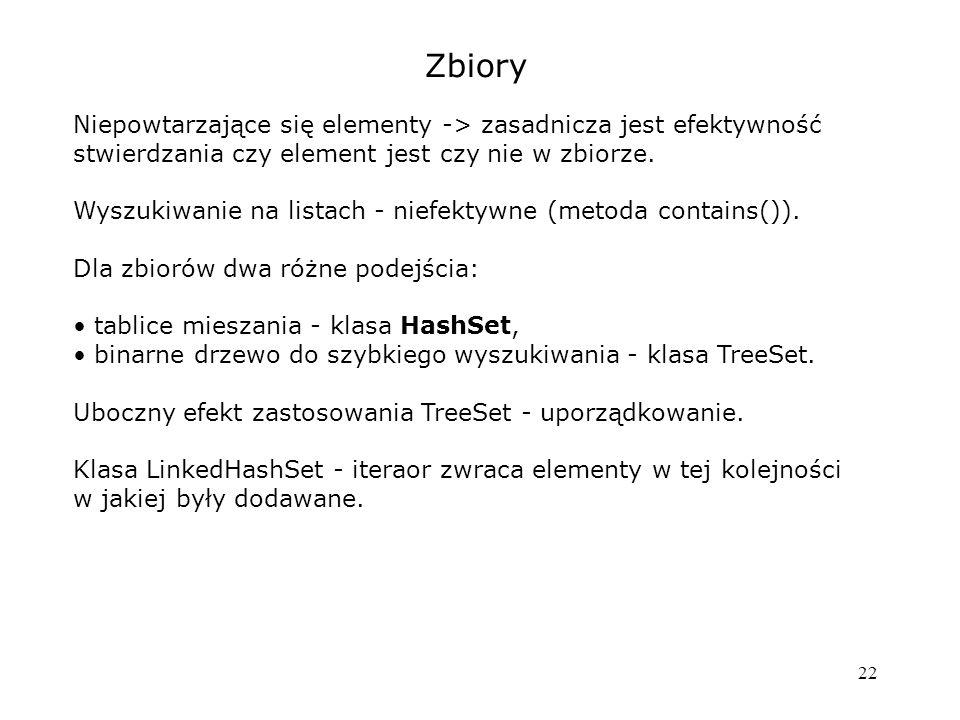 22 Zbiory Niepowtarzające się elementy -> zasadnicza jest efektywność stwierdzania czy element jest czy nie w zbiorze.