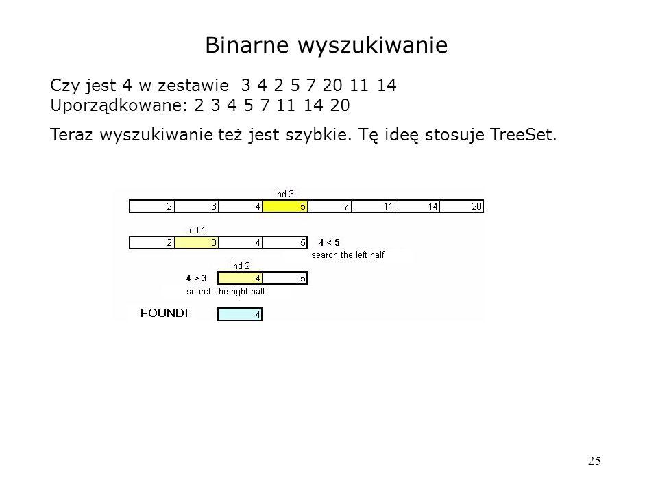 25 Binarne wyszukiwanie Czy jest 4 w zestawie 3 4 2 5 7 20 11 14 Uporządkowane: 2 3 4 5 7 11 14 20 Teraz wyszukiwanie też jest szybkie.