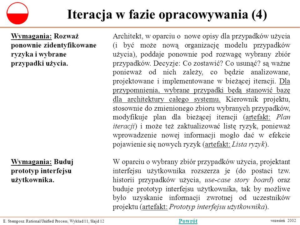 E. Stemposz. Rational Unified Process, Wykład 11, Slajd 12 wrzesień 2002 Powrót Iteracja w fazie opracowywania (4) Wymagania: Rozważ ponownie zidentyf