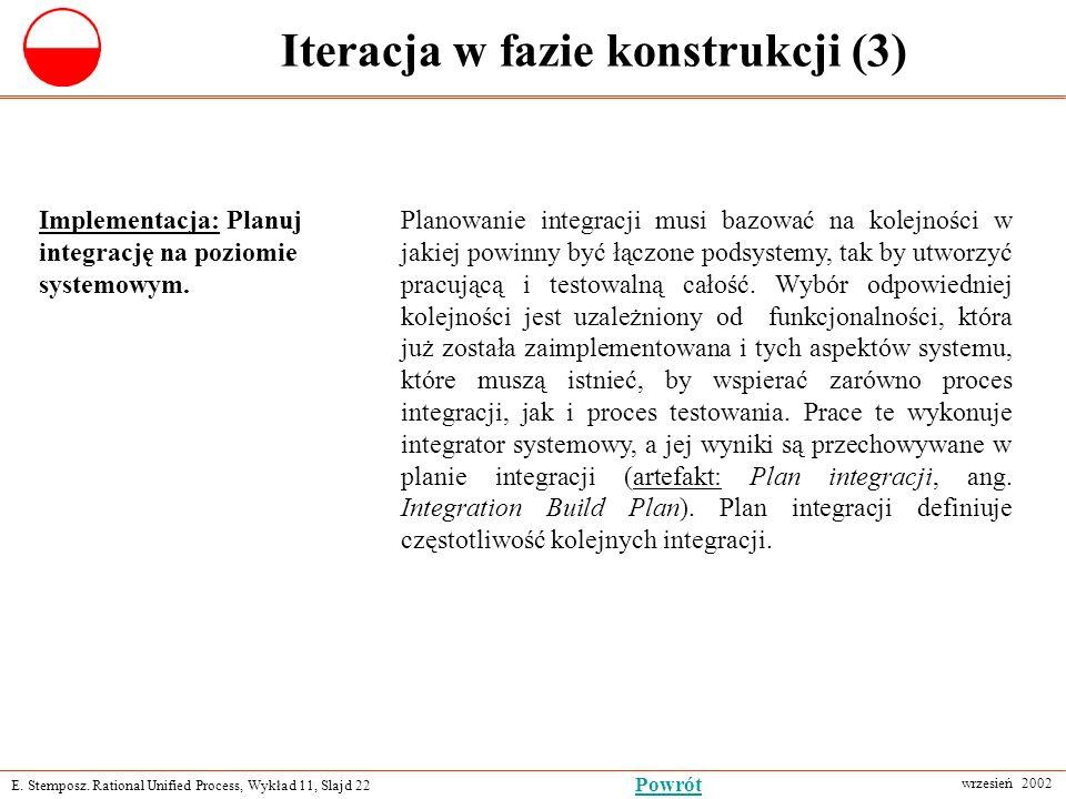 E. Stemposz. Rational Unified Process, Wykład 11, Slajd 22 wrzesień 2002 Powrót Iteracja w fazie konstrukcji (3) Implementacja: Planuj integrację na p