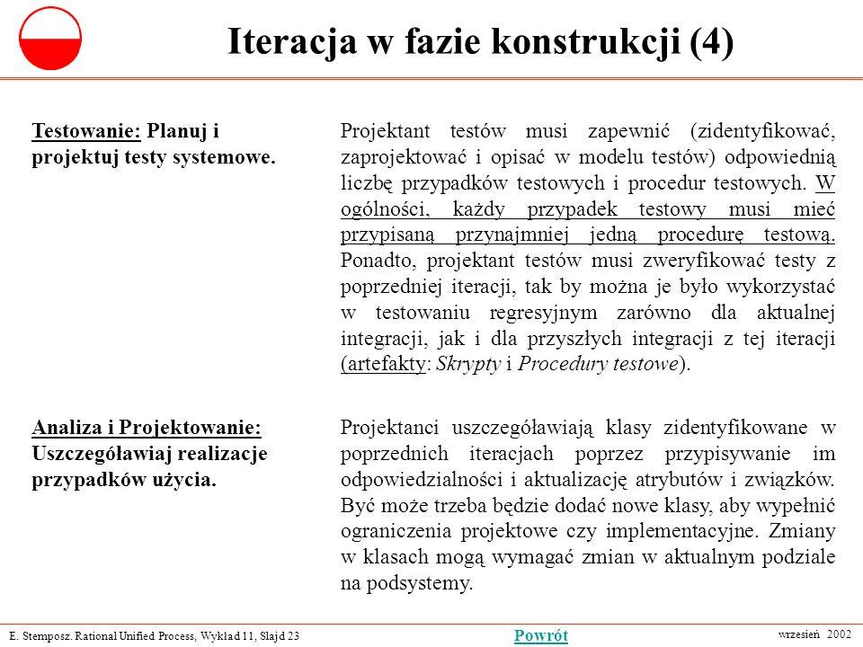 E. Stemposz. Rational Unified Process, Wykład 11, Slajd 23 wrzesień 2002 Powrót Iteracja w fazie konstrukcji (4) Analiza i Projektowanie: Uszczegóławi