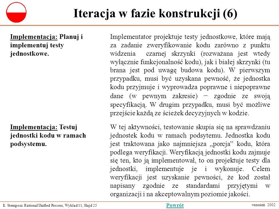 E. Stemposz. Rational Unified Process, Wykład 11, Slajd 25 wrzesień 2002 Powrót Iteracja w fazie konstrukcji (6) Implementacja: Planuj i implementuj t