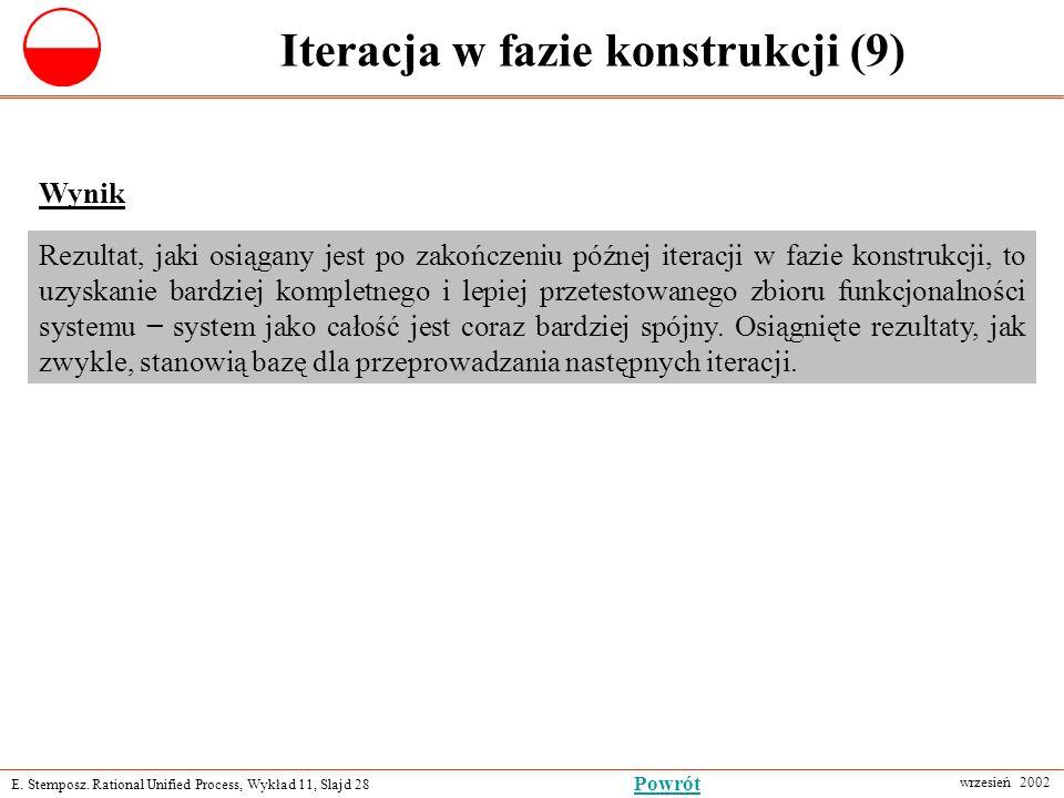 E. Stemposz. Rational Unified Process, Wykład 11, Slajd 28 wrzesień 2002 Powrót Iteracja w fazie konstrukcji (9) Wynik Rezultat, jaki osiągany jest po