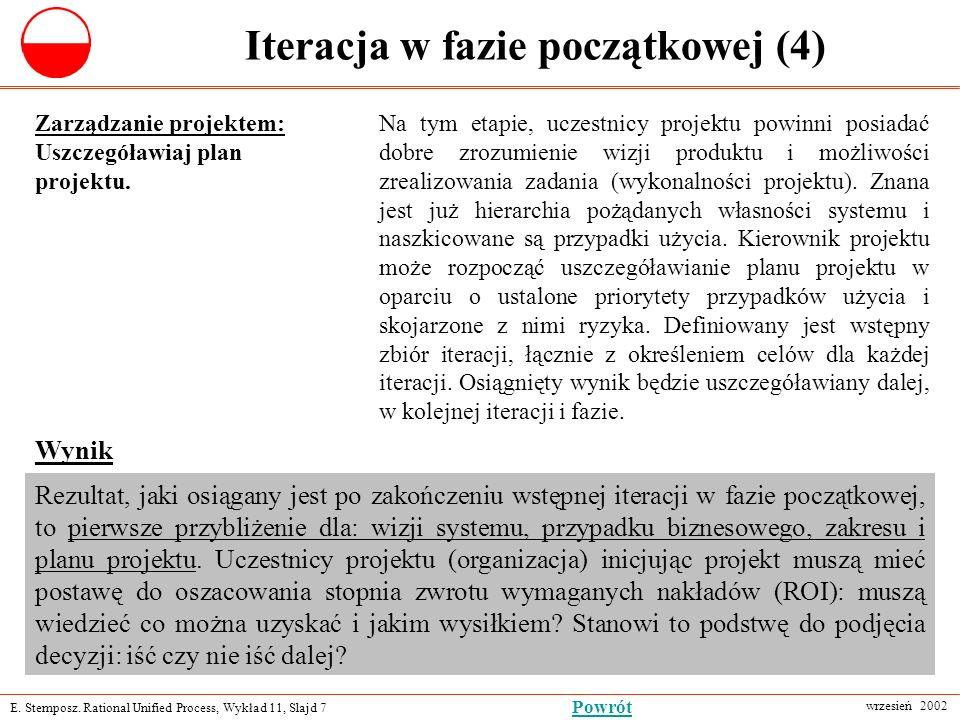 E. Stemposz. Rational Unified Process, Wykład 11, Slajd 7 wrzesień 2002 Powrót Iteracja w fazie początkowej (4) Zarządzanie projektem: Uszczegóławiaj