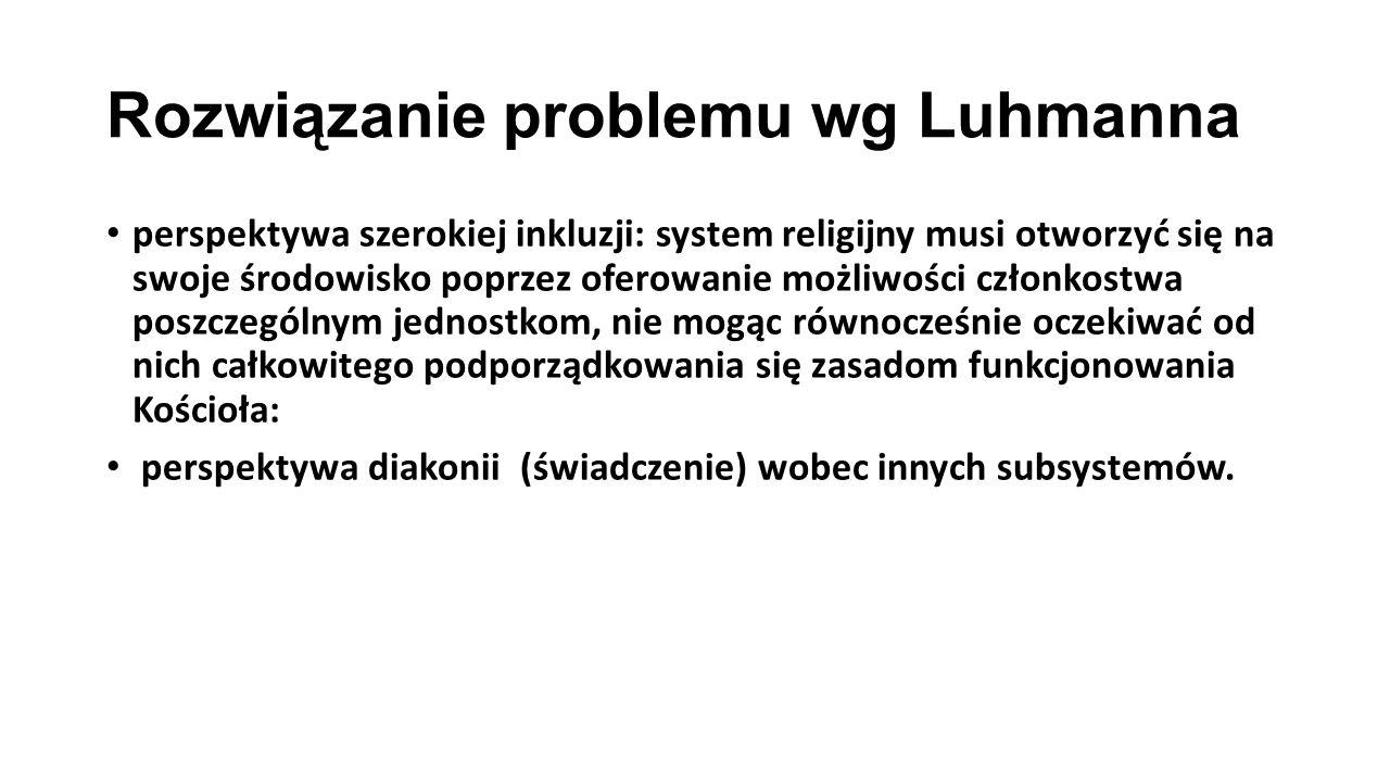 Rozwiązanie problemu wg Luhmanna perspektywa szerokiej inkluzji: system religijny musi otworzyć się na swoje środowisko poprzez oferowanie możliwości